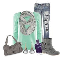 If the jeans didn't have rips in them is would wear this! love it. mint sweater and adorable scarf