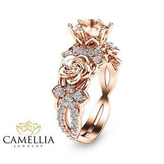 Wedding Rings Rose Gold Morganite Engagement Ring Unique Morganite Engagement Ring Rose Gold Floral Engagement Ring from camellia jewelry. Engagement Ring Rose Gold, Wedding Rings Rose Gold, Wedding Jewelry, Gold Wedding, Disney Princess Engagement Rings, Wedding Engagement, Crown Wedding Ring, Rose Gold Flower Ring, Wedding Ring Finger