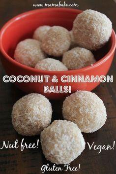 Coconut & Cinnamon Balls! Nut Free Gluten Free Vegan! >>> >>> >>> >>> We love this at Digestive Hope headquarters digestivehope.com