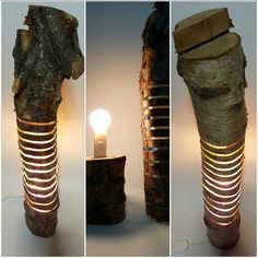 Silver Birch Log Lamp, stands a little under 2ft tall with a 4 inch diameter. The top section lifts off to change the bulb, I recommend a low wattage energy saving bulb or and LED bulb.  Made from recycled timber and acrylic.
