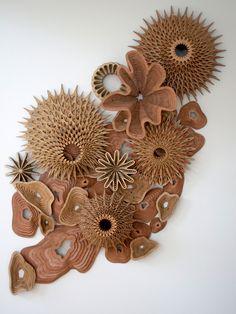 The Artwork of Joshua Abarbanel Cardboard Sculpture, Cardboard Crafts, Wood Sculpture, Wall Sculptures, Cardboard Design, Paperclay, Wooden Art, Grafik Design, Clay Art