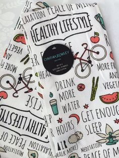 CYNTHIA ROWLEY Set of 2  KITCHEN TEA DISH TOWELS Healthy Lifestyle NEW #CynthiaRowley Cynthia Rowley, Bath Accessories, Dish Towels, Kitchen And Bath, Healthy Lifestyle, Dishes, Tea, Bathroom Fixtures, Tablewares