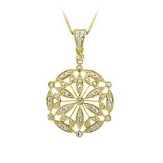 18k Yellow Gold Plated Sterling Silver Diamond-Accent Medallion Pendant Necklace Amazon Curated Collection. $30.00. Save 78% Off!