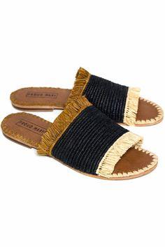 Raffia Desert Fringe Slide Sandal