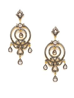 Two-Tone & Diamond Open Circle Chandelier Earrings by Amrapali at Gilt