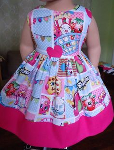 "Doll Clothes-Handmade-American Girl Dolls-Fits18""-Shopkins and Pink Dress. #Handmade"