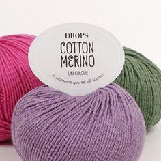 DROPS Cotton Merino - Et superwash-behandlet garn for alle sæsoner! Drops Design, Laine Drops, Alpacas, Nepal, Crochet Hooks, Macrame, Knitted Hats, Knitting Patterns, Alaska