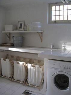 laundry nook in garage ~ laundry nook ; laundry nook in garage ; laundry nook in kitchen ; laundry nook in bathroom ; laundry nook in garage ideas Basement Laundry, Laundry Room Organization, Laundry Room Design, Laundry In Bathroom, Laundry Rooms, Laundry Area, Garage Laundry, Small Laundry, Laundry Storage