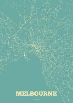 Melbourne Streets Map Art Print