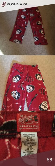 A Christmas Story Sleep Pants 100% polyester made in China.  Size is small 28/30.  Fits 14/16 boys.  Good condition. Elastic waist. A Christmas Story tuner enterprise Pajamas Pajama Bottoms