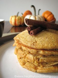 "Pumpkin Spice Latte Pancakes for One from Healthy Food for Living.  From site pinned: ""I thought I'd put a twist on the classic Autumn breakfast by adding espresso powder and brewed coffee right into the pumpkin pancake batter in an attempt to replicate the flavor of Starbucks' popular beverage."""