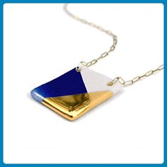 Large Blue and Gold Square Necklace, Handmade Gold and Porcelain Square Necklace - Wedding nacklaces (*Amazon Partner-Link)