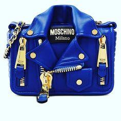 Moschino blue biker bag available on Moschino.com #moschino @itsjeremyscott #jeremyscott