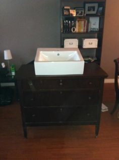 This will be our bathroom vanity - Dresser + Sink + Facuet (high arc single hole brushed nickel) total cost = $265!!!
