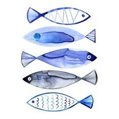 "ArtWall Retro Watercolour Fish Wall Mural Size: 32"" H x 24"" W x 0.1"" D"