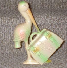 Vintage Plastic For Baby Stork Bank