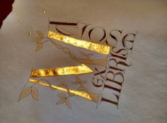 """""""Spring triangle""""Ex-Libris Illuminated letter with gold leaf of 2375 k with gesso base and walnut ink"""