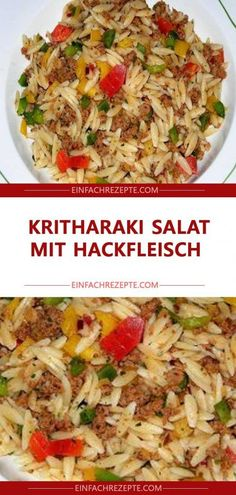 Kritharaki Salat mit Hackfleisch Kritharaki salad with minced meat beef recipes healthy Greek Recipes, Meat Recipes, Pasta Recipes, Salad Recipes, Dessert Recipes, Healthy Eating Tips, Healthy Salads, Healthy Nutrition, Mozzarella