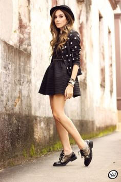 Gauze Combination Little Black Dress : The Art of Vintage-inspired & Cute Women's Clothing | @Larmoni