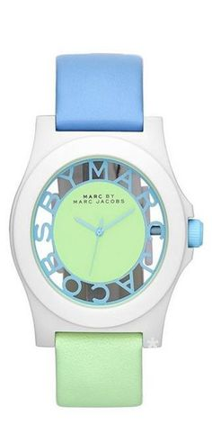 Emmy DE * MARC BY MARC JACOBS 'Block' Two-Tone Leather Strap Watch