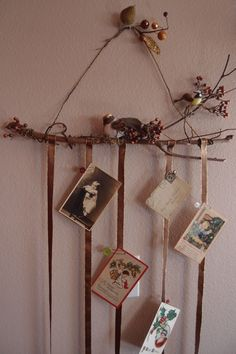 A neat way to hang cards/pictures/etc. Christmas Town, Christmas Holidays, Christmas Decorations, Christmas Things, Happy Holidays, Merry Christmas, Christmas Projects, Holiday Crafts, Holiday Fun