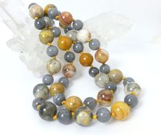 Orange Cream Crazy Lace Agate Gray Jade Beaded Sweater Necklace 23 inch #gemstones #fashion #jewelry #necklace