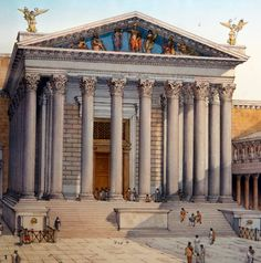 The Temple of Mars Ultor in Rome as it was. It was used for the design of the facade of the U.S. Supreme Court in Washington D.C.