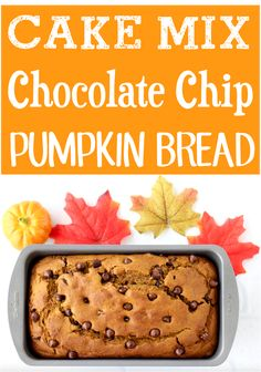 Pumpkin Bread Recipe Chocolate Chip Moist! Easy Fall desserts for a crowd with cake mix are so yummy! Pumpkin Chocolate Chip Bread, Chocolate Chip Recipes, Pumpkin Bread, Pumpkin Spice, Thanksgiving Desserts, Fall Desserts, Delicious Desserts, Christmas Desserts, Cake Mix Recipes