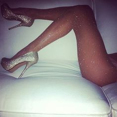 I love the sparkly pantyhose and sparkly high heels she looks beautiful in them. Sexy Stockings, Bas Sexy, Lingerie Fine, Diamond Girl, Frauen In High Heels, Prom Heels, Glamour, Glitz And Glam, Swag Outfits