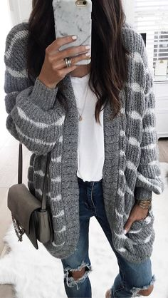 #winter #outfits grey striped cardigan, white shirt, ripped jeans
