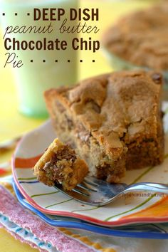 Deep Dish Peanut Butter Chocolate Chip Pie. The BEST cookie pie you'll ever eat with an amazing, crackly, crispy crust and an ooey-gooey center.