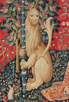 The Lady and the Unicorn, Hearing (detail), Musée de Cluny, Paris Medieval Tapestry, Medieval Art, Lion And Unicorn, Medieval Pattern, Unicorn Tapestries, Late Middle Ages, Cosplay Anime, Magical Creatures, Wall Art Designs