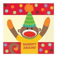 Sock Monkey Party Beverage Napkins 16ct