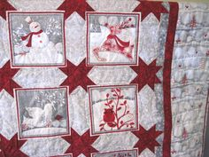 Lap Throw Quilt Holiday Frost by KellettKreations on Etsy, $139.00