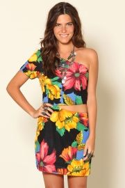 vestido um ombro so floral havana