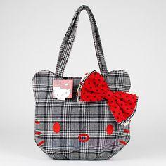 Sanrio Hello Kitty Purse Houndstooth Plaid Large Hand Bag Pocket Book Licensed | eBay