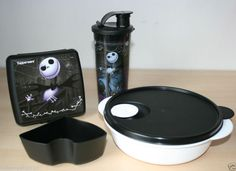 TUPPERWARE Nightmare Before Christmas Lunch Set Tumbler,Keeper,Crystalwave New
