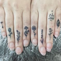 Finger tattoos - wildflowers