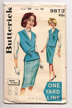 """* Yard Line ~ Butterick 9873 ~ Vintage 60's Sewing Pattern  One Yard Line 1 Yd Tunic top & Sheath Skirt, 2 Piece Dress ~ each uses one yard or less of 54"""" fabric ~"""