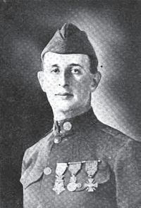 First Sergeant Sidney Gumpertz - When the advancing line was held up by machinegun fire, 1st Sgt. Gumpertz left the platoon of which he was in command and started with two other soldiers through a heavy barrage toward the machinegun nest. His two companions soon became casualties from bursting shells, but 1st Sgt. Gumpertz continued on alone in the face of direct fire from the machinegun, jumped into the nest and silenced the gun, capturing 9 of the crew. September 29, 1918