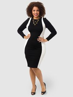 6f456566005 Long Sleeve Colorblock Dress In Black   White night out on the town dress