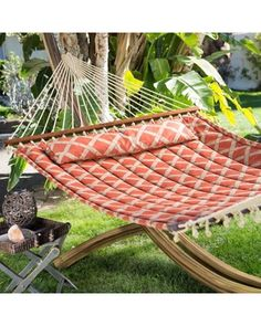Island Bay Island Bay 13 ft. Tuscan Lattice Quilted 2 Person Hammock - Sienna/Taupe from Hayneedle   BHG.com Shop