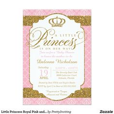 Little Princess Royal Pink and Gold Baby Shower Invitations.