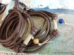 Tribal Brown Cord Wristwrap - Inspirational handmade gemstone jewellery Earth Jewel Creations Australia