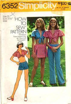 Vintage 1974 Hip Hugger PANTS MIDRIFF TOP by graymountaingoods, $6.00