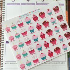 E8 Happy Birthday Cupcake Stickers - set of 40