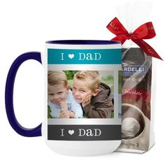 I Heart Dad Mug, Blue, with Ghirardelli Premium Hot Cocoa, 15 oz, Blue