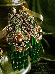 Купить Восточные сутажные серьги Тайна - зеленый, золотой, золотой браслет, золотые серьги