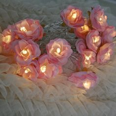 Sugar Pink Shabby Rose Fairy Lights Pretty Flower by PamelaAngus