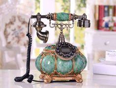 โทรศัพท์บ้านโบราณสไตล์วินเทจ สีเขียวมรกตตกแต่งบ้าน คอนโด ที่ทำงาน ร้านสไ...